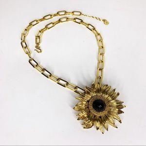 TRINA TURK Gold & Black Flower Chain Necklace